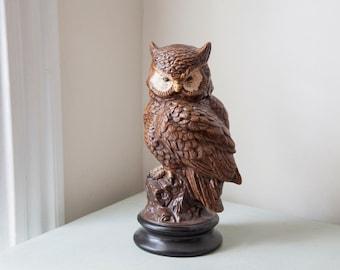 Large Owl Statue/ Figurine Porcelain Bird Feathers