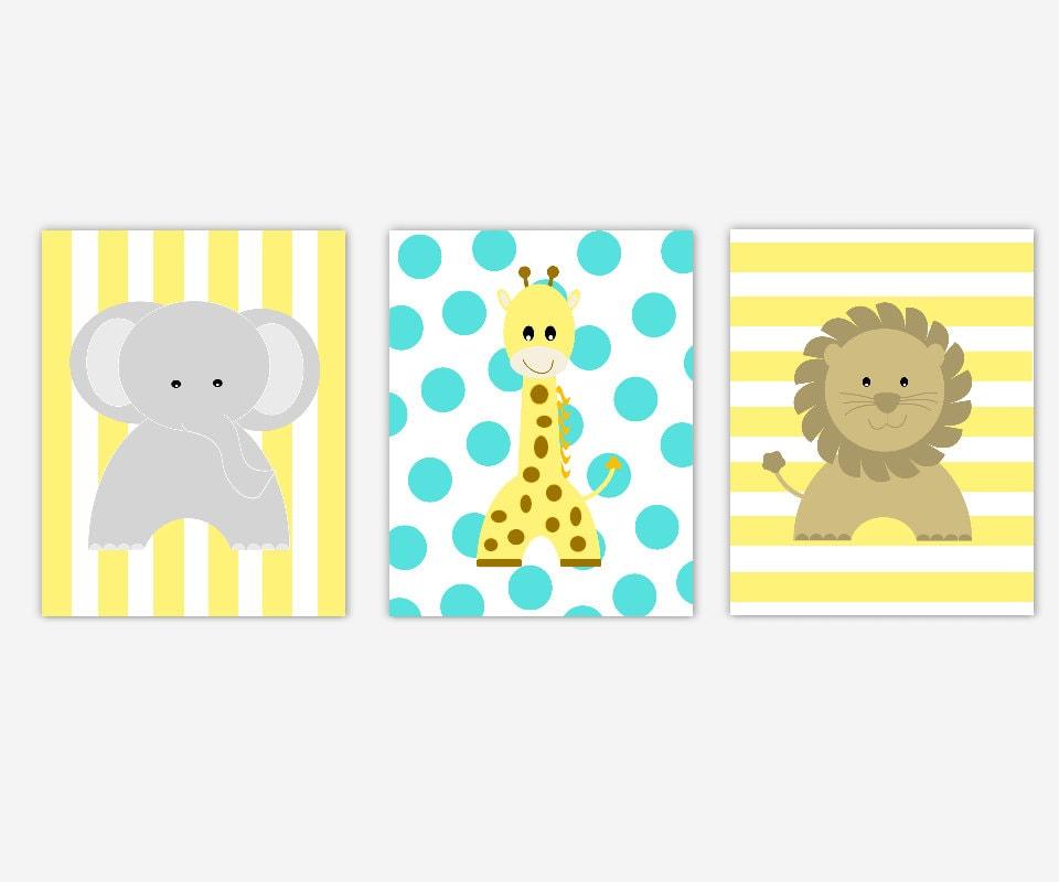 Safari Animals Baby Nursery Wall Art Yellow Gray Grey