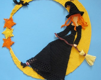 PDF Crochet Pattern- Stella Luna Doily  (Witch, Halloween)