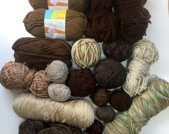 Mixed Yarn Lot Brown + Tan Shades for Weaving + Fiber Arts