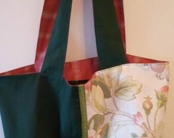 TOTE BAG handmade fabric green and pink reversible shoulder bag
