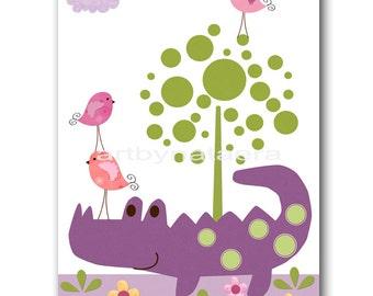 Baby Nursery Decor Art for Children Kids Wall Art Baby Girl Room Decor Baby Girl Nursery print Print crocodile bird decoration violet