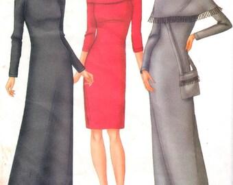 "Butterick 6817, Sz 12-16/Bust 34-38"".   Very Easy Misses/Misses Petite Knee Length/Midi Knit Dress and Handbag, UNCUT FAST & EASY pattern"