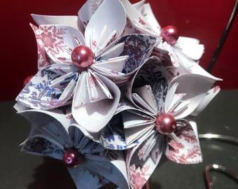 "Handmade ""Dark Plink Snowflakes"" Kusudama Flower Christmas Ornament"