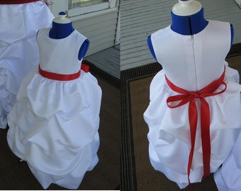 Flower Girl Junior Bridesmaid Dress Satin with take ups and sash CUSTOM ORDER