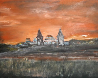 Expressionist landscape palace oil painting signed