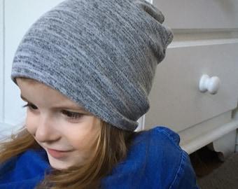 Slouchy Beanie / baby beanie hat / kids grey jersey knit hat / toddler beanie / kids beanie / hipster baby
