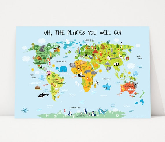 Nursery decor boy world map poster boy nursery decor baby nursery decor boy world map poster boy nursery decor baby shower gift newborn gifts oh the places you will go australia usa canada gumiabroncs Images