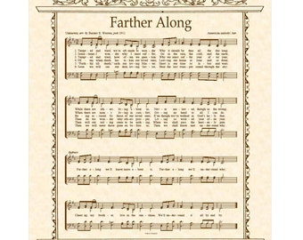 FARTHER ALONG a.k.a. Tempted and Tried - 8x10 Antique Hymn Art Print Natural Parchment Sepia Brown Vintage Verses Sheet Music
