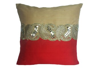 red and gold decorative  pillow cover. with stone work center border. Luxury dupioni silk throw pillow cover. Festive pillow . Custom made