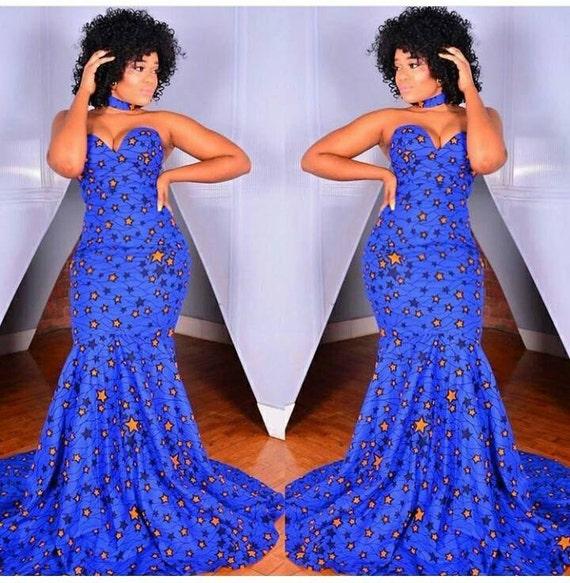 StarGirl bodenlanges Kleid mit Halsband Afrikanische