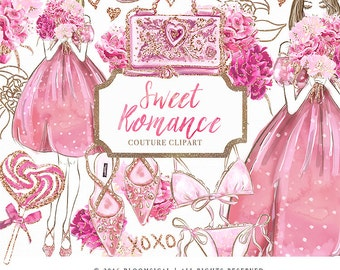 Sweet Romance Clip Art | Fashion Illustration Bouquet Hand bag Lingerie Shoes Graphics | Planner Stickers, Planner Girl Digital Cliparts
