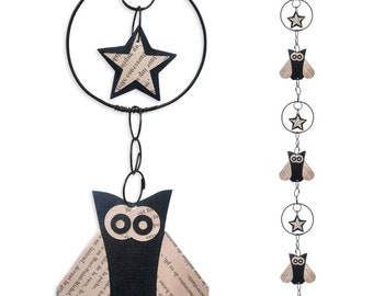 Wire - coloured Garland - black - OWL wall hanging