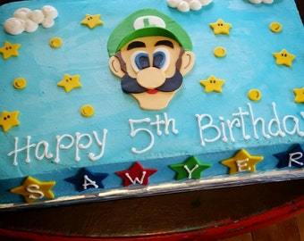 Fondant Super Mario Bros Inspired Cake Topper Set