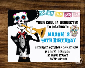Skull Invitation - Halloween Party Invitation - Day of the Dead Invite - Sugar Skull Invitation - Halloween invitation - Digital File.