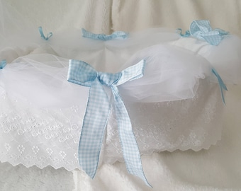 Hand Crafted Baby Doll Bed - Beautiful Pastel Blue- Fits Dolls up to 16 Inches