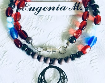 Grecian Beaded Necklace in Red, Blue, Silver tones Designed by ~EugeniaM~
