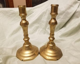 Pair of solid brass candle sticks 8""