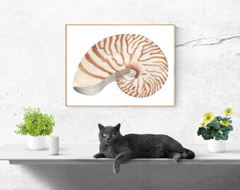 Printable, Instant Digital Download Art - Watercolour Shell, Wall Art, Home Decor