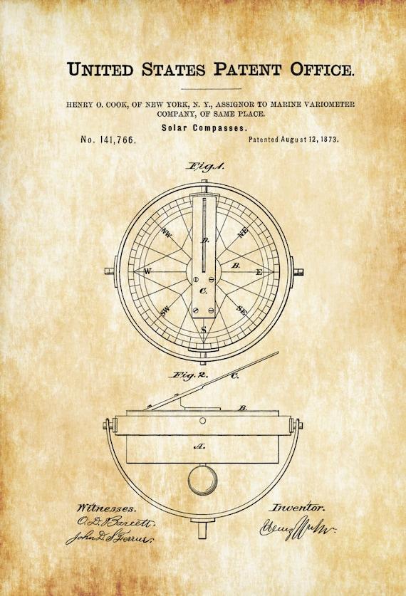 Solar Compass Patent Patent Print Wall Decor Compass