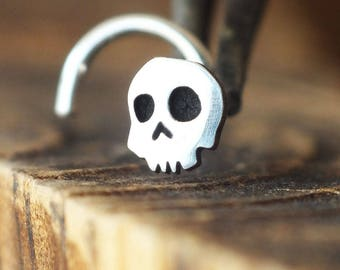 Silver Skull Nose Stud | Skull Nose Ring | Custom Nose Ring | Handmade Nose Stud | Unique Nose Jewelry | Nose Body Jewelry | Nose Piercing
