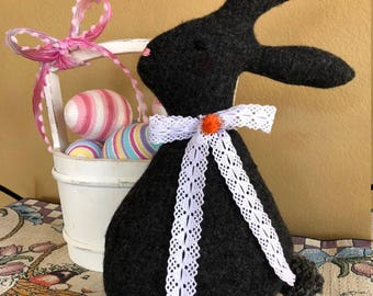 Felted Wool Easter Bunny-Fiberfill Stuffed Wool Easter Rabbit-Recycled Wool Sweater-Easter Decoration-Handmade Bunny-Fabric Bunny-Dark Grey
