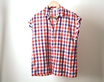 90s GRUNGE plaid sleeveless button up TANK top