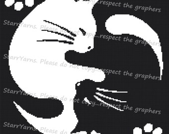 Yin Yang Cats Crochet graph Pattern