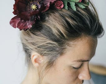 Eggplant hair floral comb, purple hair vine, Burgundy floral comb, Marsala bridal headpiece, bridal hairpiece, bridal floral crown, boho