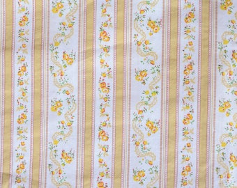 """By the yard 1950s-60s Vintage Ticking Fabric Floral Pillow Case Yellow Floral 42"""" Wide - 81-L15"""