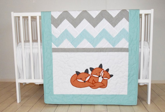 Fox Blanket Chevron Sleeping  Foxy Patchwork Quilt, Crib Bedding, Gray Teal Turquoise and White, Custom Made