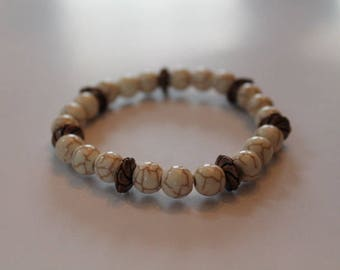 Ivory Stone Bracelet with Bronze Accents.  Free Domestic Shipping.