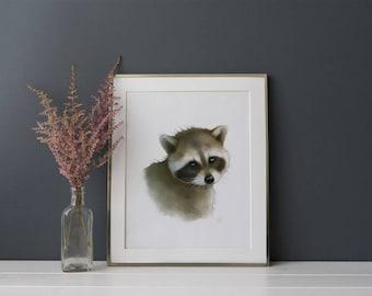 Raccoon Art - Woodland Animals Nursery Wall Decor - Childrens Wall Art - Forest Nursery Art Print - Baby Raccoon Print - Kids Wall Decor