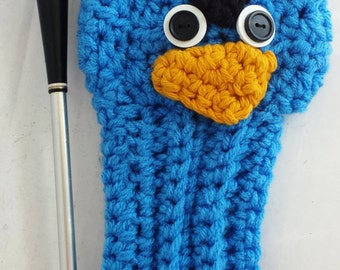 Blue Angry Bird, Golf Covers,Golf Club Covers,Crochet Golf Club Covers,Club Head Covers,Golf Head Covers,Putter Cover,Driver Cover,Christmas