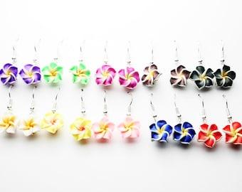Hawaii flower earrings plumeria frangipani