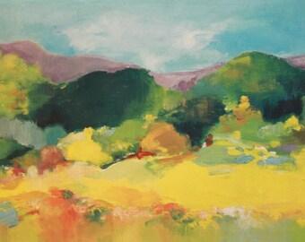 Vintage European oil painting expressionism landscape
