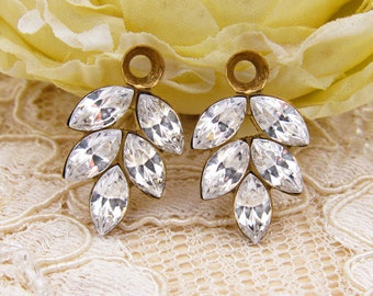 Vintage Clear Swarovski Rhinestone Leaf Drops Dangles Charms in Antique Silver, Black Patina or Brass 21x11mm 1 Ring Settings - 2