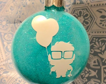 Carl Up Silhouette Large Glass Disc Glitter Ornament