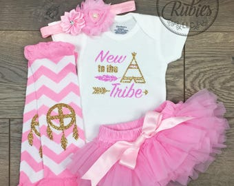 Newborn girl coming home outfit Newborn Girl Baby girl outfit Hello World outfit Welcome Home Baby shower gift New to the Tribe set New gift