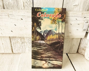 Vintage Colorado road map recreation points of interest mid century color photos 1969- free shipping US