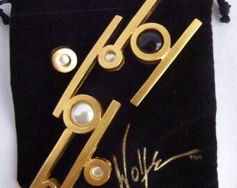 Vintage Retro Modernist Lee Wolfe SIGNED Large Brooch Pin
