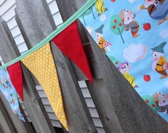 SNOW WHITE DWARFS Fabric Banner Bunting Garland Flags--Snow White and Seven Dwarfs Fabric--Fairy Tale--Hi Ho Hi Ho--Baby Nursery Banner--Fun