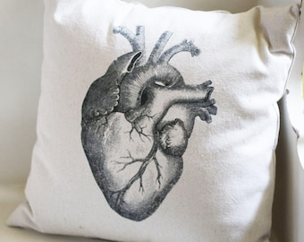 Anatomical Heart Pillow Cover or Complete Pillow, Cotton Canvas, Steampunk Decor, Goth Style, New Home Gift Idea, Novelty Vintage Graphic