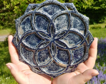 Seed of life ceramic, silver-dark blue glaze effect