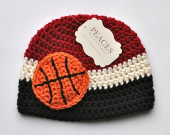 Newborn Basketball Hat - Dark Red, White, and Black Basketball Baby Hat