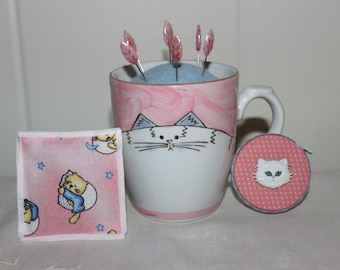 White Cat Mug Wool Felt Pincushion Organic Catnip Cat SacToy and Matching Retractable Tape Measure Set