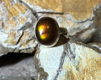Mexican fire agate on sterling silver ring size 7