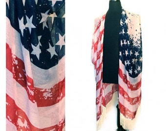 USA Fringed Poncho Comono Amerian Flag, Old Glory Distressed look, Sleveless with Fringe on bottom, parties, 4t of July, USA pride!!!