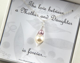 Two peas in a pod necklace, Mother and Daughter necklace, mothers necklace, new mom gift, baby shower gift
