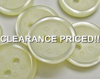 "CLEARANCE! A Field of Flowers: 1/2"" (13mm) Cream Buttons with Tiny Impressed Flowers - Set of 7 Matching New / Unused Buttons"
